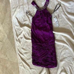 Purple cocktail mini dress